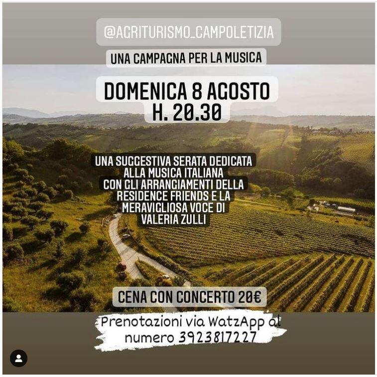 Cena Concerto domenica 8 agosto 2021